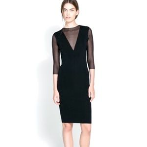 Zara Knit Sheer Sleeve Black Ribbed Bodycon Dress
